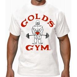 Camiseta Gold's Gym Joe  Blanca logo Rojo.