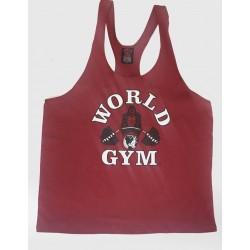 Camiseta Tirantes World Gym Granate Logo Blanco.