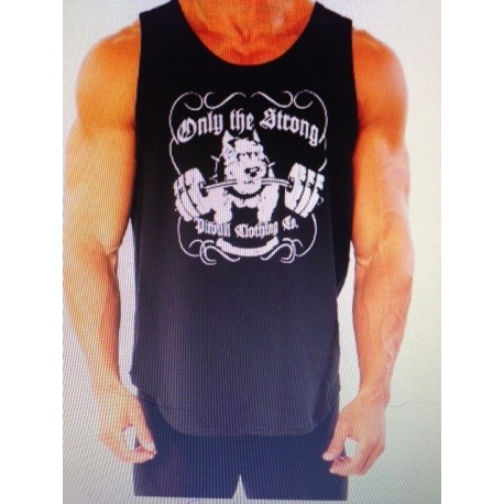 Camiseta Tirantes ancha Pitbull Gym Negra.