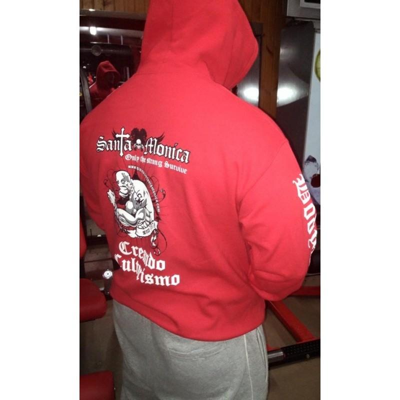 Comprar Sudadera Gorro Gym Sta Monica Creando Culturismo Roja Bordada por solo 30.00€ en Gimnasio Gold´s Gym Santa Mónica (Granada)