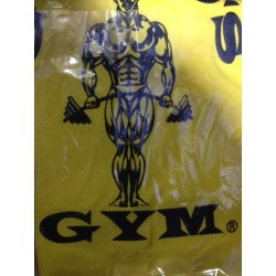 Camiseta Golds Gym Amarilla Logo Negro.