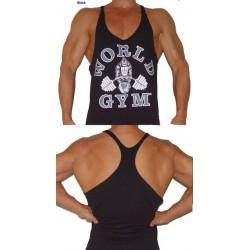 Camiseta Tirantes World Gym Negra Muñeca Blanco.