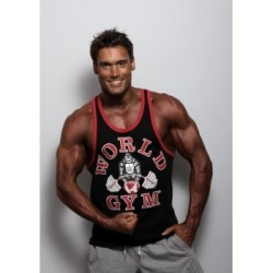 Camiseta Tirantes World Gym Negra Borde Rojo.