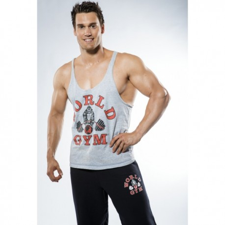 Camiseta Tirantes World Gym Negra Borde Rojo.