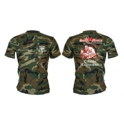 Camiseta Corta Gym Sta Monica Zombi Camuflaje Militar.