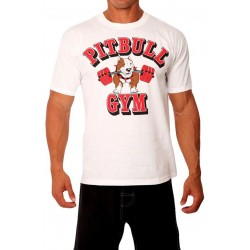 Camiseta Corta Pitbull Gym Blanca.